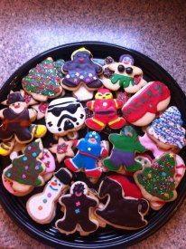 Assorted Xmas cookies, including such Xmas favorites like; Iron Man, Captain America, The Hulk and Indiana Jones!