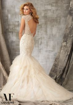 Bridal Gown 1341 Metallic Embroidered Appliques with Beading onto Chantilly Lace with Soft Net Ruffles