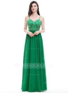 A-Line/Princess V-neck Floor-Length Beading Sequins Zipper Up Crossed Straps Spaghetti Straps Sleeveless No Other Colors Spring Summer Fall General Plus Chiffon Hight:5.7ft Bust:32in Waist:24in Hips:35in US 2 / UK 6 / EU 32 Prom Dress
