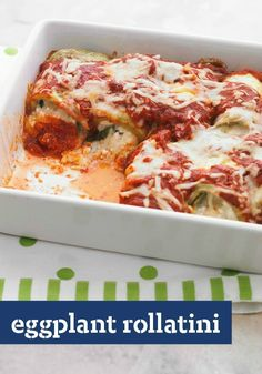 Eggplant Rollatini — Fresh eggplant rolled with cheesy filling and topped with savory sauce. This is comfort food at its flavorful best. Serve with a mixed green salad for dinner!