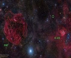 Optical sky image of the area in the constellation Auriga where the fast radio burst FRB 121102 has been detected. The position of the burst, between the old supernova remnant S147 (left) and the star formation region IC 410 (right) is marked with a green circle. The burst appears to originate from much deeper in space, far beyond our galaxy. Image courtesy Rogelio Bernal Andreo (DeepSkyColors.com).