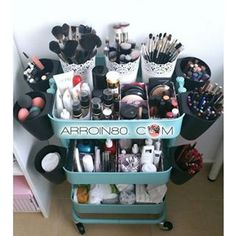 Turn an IKEA Raskog utility cart into a vanity on wheels! It's great! It could go anywhere since it's on wheels.