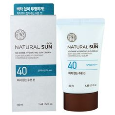 The Face Shop, Sol natural, crema de sol hidratante sin brillo, facto de protección solar 40 PA +++, 1,69 fl oz (50 ml)