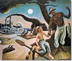 Thomas Hart Benton - Huck Finn - 1936 - 84x144 Inches - Original Image Size Painting