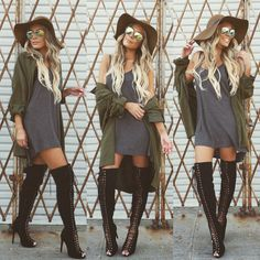 Hat #H&M  Sunnies #Nordstrom (they were like $12) Jacket @sugarclothusa  T-shirt dress @irenesstory Boots @lolashoetique