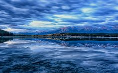 Download wallpapers lake, sunset, evening, forest, national park, Jasper, Alberta, Canada