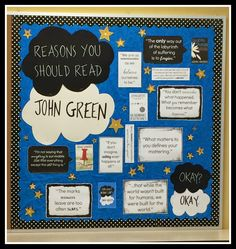 John Green, The Fault in Our Stars, inspired bulletin board. Back to school bulletin board and classroom decor for teachers. Middle school or high school level.