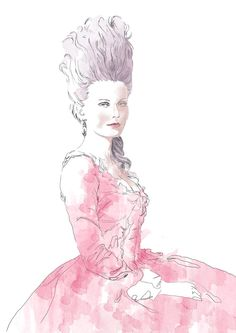 watercolor of Kirsten Dunst as Marie Antoinette for Vogue