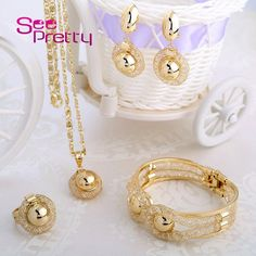 SeePretty 2016 Gold Plated Necklace Bangle Earrings&Ring Wedding Accessories Costume Jewelry Sets