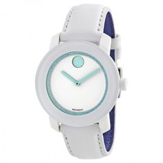 Movado Bold White Dial Swarovski Crystal White Leather Ladies Watch 3600251