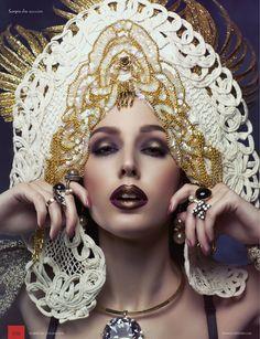 Mystics Intense Gold spiked Kokoshnik Lace,Gold,Fringe,Crown,Hat,headpiece,High fashion,headpiece,headdress