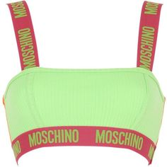 Moschino Underwear Women Logo Trim Ribbed Cotton Bandeau Bra ($96) ❤ liked on Polyvore featuring intimates, bras, underwear, multi, moschino, moschino bra and bandeau bra