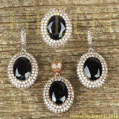 Hurrem Sultan Set Oval Shape Sapphire Color by helenfinejewels, $102.00