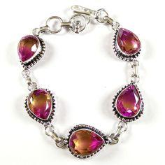 Hot Sale !! Multi Quartz Gemstone 925 Silver Plated Bracelet Adjustable Lock. #Gajrajgems92_9 #Chain