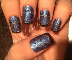Swirly filigree nail art design in Blue Bells Ring by China Glaze with black tips & silver glitter