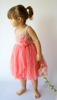 Baby Tulle Dress with Stretch Crochet Top. Flower by AylinkaShop