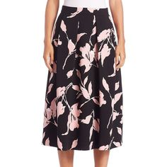 Escada Peony-Print Pleated Skirt (1,573 CAD) ❤ liked on Polyvore featuring skirts, apparel & accessories, black, black pleated skirt, long skater skirt, black skater skirt, long circle skirt and long skirts