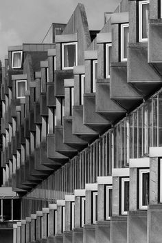 Andrew Melville Hall, University of St. Andrews, Scotland, designed by James Stirling in 1964.