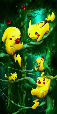 Pikachus in a forest! xD For the contest at A picture of my favourite Pokemon, Pikachu! Pichu Pokemon, Mega Pokemon, Pokemon Eeveelutions, Pokemon Funny, Cute Pokemon Wallpaper, Cute Cartoon Wallpapers, Disney Wallpaper, Wallpaper Art, Pikachu Drawing
