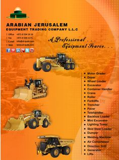 A Professional Equipment Source! Arabian Jerusalem Equipment Trading Co. L.L.C Choose your #professional #equipment Cat dozers, excavators, motor graders, Wheeled Loaders, and other products are ready to prepare your sites.  Visit us at: www.al-quds.com  #earthmoving #ajc #uae #constructionmachinery