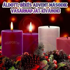 I wish you a blessed, peaceful second advent Christmas Ecards, Christmas Tag, Share Pictures, Pillar Candles, Wish, Blessed, Peace, Awesome, Christmas Ornament