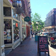 "Exchange Street, Old Port district, Portland, Maine.  (Facebook post by ""Old Port"" magazine.)"