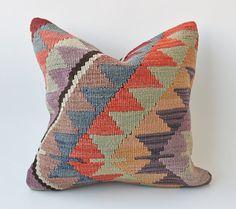 "Vintage Turkish Kilim Pillow Cushion 16"" X 16"" (40 cm x 40 cm)"