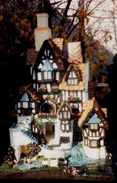 I entered this house in the 2003 Belleville Illinois Gingerbread Walk.  It is almost 4 feet tall.  I was moving to Texas, so I knew it would be my last