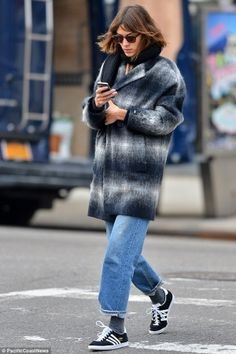 Alexa Chung wearing Adidas Gazelle Sneakers and Tommy Hilfiger Plaid Cocoon Coat