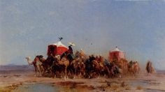 'Caravan In The Desert', Oil by Alberto Pasini (1826-1899, Italy)