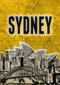 Sydney City Poster print Cityscape artwork  Mixed by Artistico, $30.00