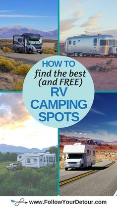 Tips from full-time traveling RVers on how to find the best camping spots and places to park your RV or camper van for free, at campgrounds, or at RV parks! For those living in their RV or just traveling on a road trip, check out these RV life tips and ideas from a couple who lives and travels in their motorhome. #RVliving #RVlife #homeiswhereyouparkit #fulltimeRV #RVing #RVers #gorving #camping #camplife #vanlife
