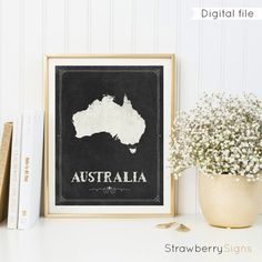 Australia map printable Chalkboard print by StrawberrySigns