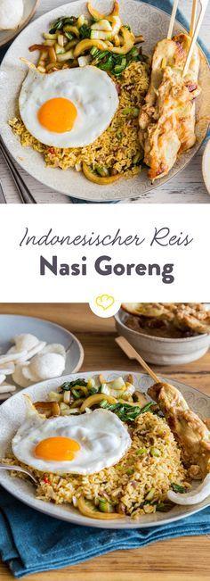 Nasi Goreng wird in Indonesien zusammen mit vielen anderen Köstlichkeiten aufgetischt, schmeckt aber auch im Alleingang einfach lecker.