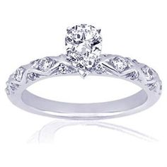 Buy.com - 1.45 Ct Pear Shaped Diamond Cris-Cross Engagement Ring CUT:VERY GOOD SI1-F COLOR