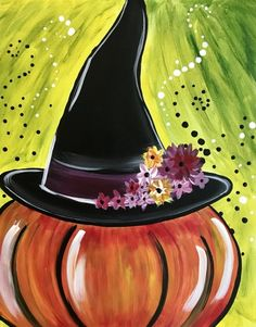 US Shipping Halloween Pumpkin Witch Hat Fall Diamond Painting Kit. by OurCraftAddictions Halloween Canvas Paintings, Fall Canvas Painting, Halloween Painting, Autumn Painting, Autumn Art, Diy Painting, Canvas Art, Witch Painting, Fall Paintings