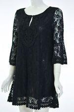 LADY NOIZ BLACK CROCHET LACE TUNIC DRESSY SHIRT TOP BLOUSE BC932 1X