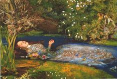 Ophelia is a painting by British artist Sir John Everett Millais, completed in Currently held in the Tate Britain in London, it depicts Ophelia, a character from Shakespeare's play Hamlet, singing before she drowns in a river in Denmark. Dante Gabriel Rossetti, John Everett Millais Ophelia, Ophelia Painting, Elizabeth Siddal, Pre Raphaelite Paintings, Tableaux Vivants, Pre Raphaelite Brotherhood, John William Waterhouse, Tate Britain