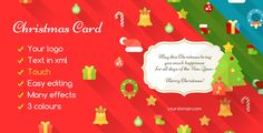 Christmas Card Flat . Show your friends how much you and the customer appreciates the Christmas card with a modern, flat style. There are many animations and effects, and you can choose a color between the three that came with the card. And there's a beautiful song.You can see the animation on the tablet and phone,