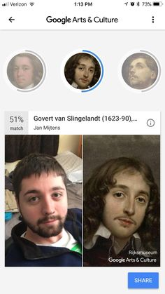 My sister downloaded this new app that takes your picture and compares it to old paintings and here what came up...