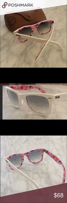Women's RayBan Sunglasses Women's white with floral print on inside, great condition Ray-Ban Accessories Sunglasses