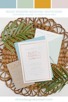 Boho Modern Rose Gold Wedding Invitations with a minimalist, tropical vibe! Perfect for a destination wedding, modern beach wedding, or brewery wedding!