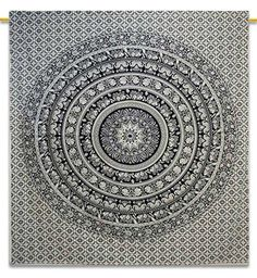 9874c052c9 Labhanshi 90 x 90 inch Elephant Mandala Indian Traditional Hippie Cotton  Tapestry, Black and White, Queen