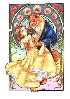 "Mucha style - "" "" "" Illustration in style of ""Alphonse Mucha"" Disney Princess Belle. Beauty and the Beast fan art Disney Belle, Disney Love, Slytherin, Beauty And The Beast Art, Disney Kunst, Disney Images, Disney Couples, Illustrations, Disney Illustration"