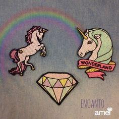 Um conto encantado🌈 #lojaamei #patch #muitoamor #novidades #unicórnio #arco-íris #diamante