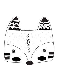 Monochrome Tribal Fox Print Nursery Print от TheKidsPrintStore