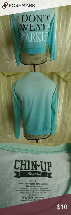 Chin Up Apparel high low Top Cute long sleeve high low top  By Chin Up Apparel  Size small  I don't sweat I Sparkle  shirt is a green ombre color Wonderful preowned condition Chin Up Apparel Tops Tees - Long Sleeve