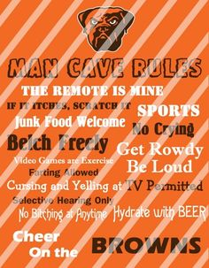 Cleveland Browns Man Cave Rules Wall Decor Sign Printable Digital File