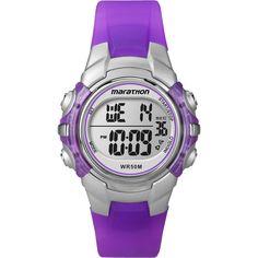 Timex T5K816M6 Unisex Marathon Digital Mid-size Purple/ Silvertone Watch
