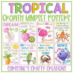 15 tropical growth mindset posters.